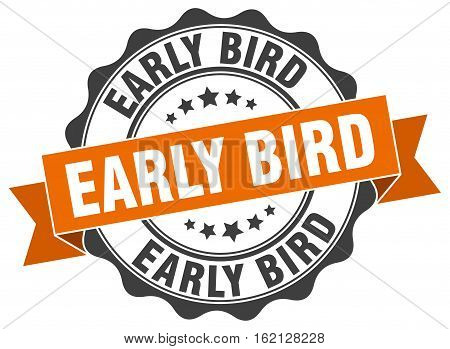 early bird. stamp. sign. seal. round. retro. ribbon