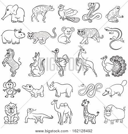 Cute zoo animals outline collection. Vector illustration