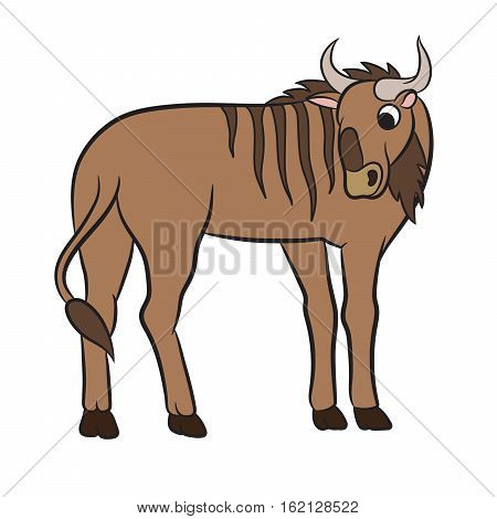 Illustration of a wildebeest on the white background. Coloring page