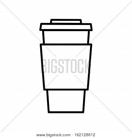 Coffee outline digital icon. Thin flat line icon of take away coffee. Single symbol for web design or mobile app. Vector sing for design logo, visit card, corporate identity. Isolated on white background illustration.