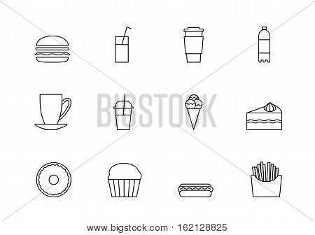 snacks desserts and beverage outline icon set, food thin line icons, fastfood, hod and refreshing  cold  drinks. Symbol for web design or mobile app. Outline vector sings for design logo, visit card, corporate identity.