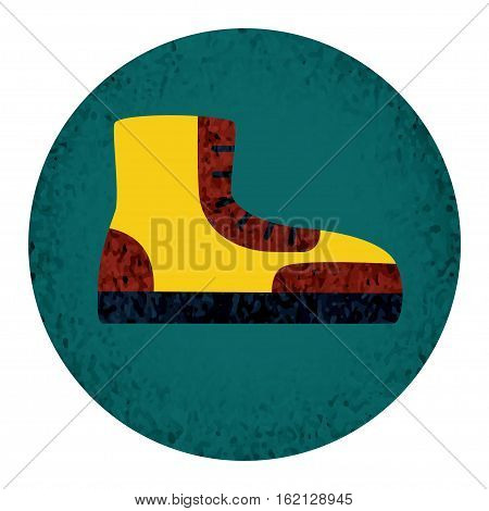 Boot fat Icon with textured elements. Single symbol for web design or mobile app. Outline vector sing for design logo, visit card, corporate identity.