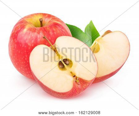 Isolated Cut Red Apples