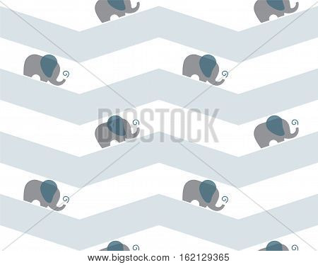 Seamless elephant parade chevron pattern. Repeating baby elephants. Vector illustration of walking elephant herd squirting water out of trunk. minimal flat art neutral newborn baby concept.