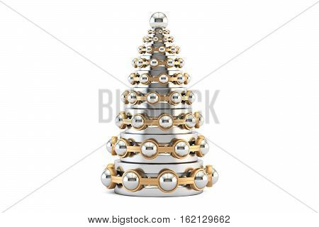 Abstract metallic Christmas Tree from bearings 3D rendering isolated on white background