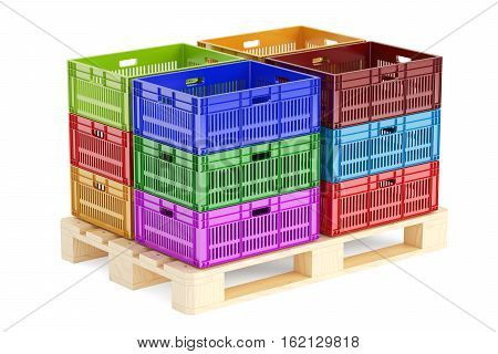 stack colored plastic crates on the wooden pallet 3D rendering isolated on white background