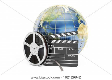 world cinema concept 3D rendering isolated on white background