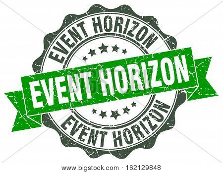 event horizon. stamp. sign. seal. round. retro. ribbon