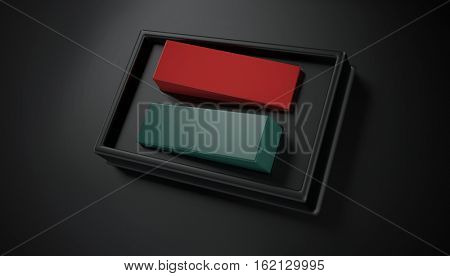 Close up view of green and red power switches enclosed in box and against a black background. 3d Rendering.