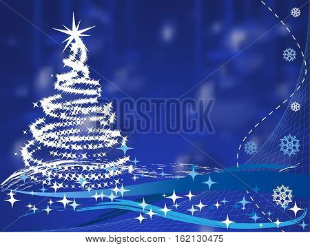 christmas tree on blue background with christmas balls. vector illustration