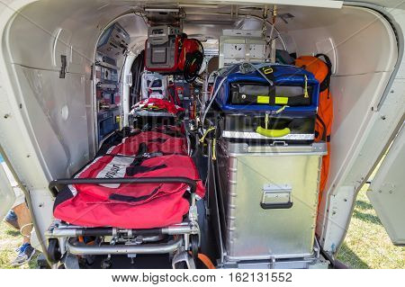 Interior of a ambulance and rescue helicopter