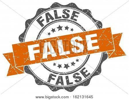 false. stamp. sign. seal. round. retro. ribbon