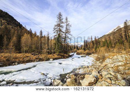 River Ova de Roseg in Val Roseg in Switzerland