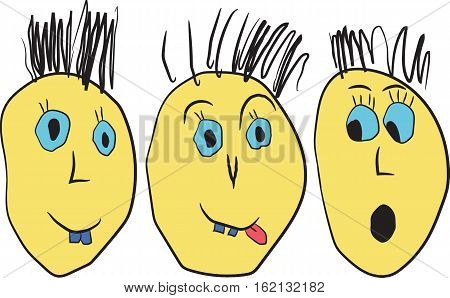 Cartoon  funny comic emotions faces. Hand draw