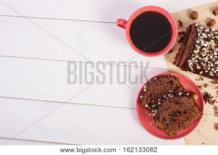 Dark Cake With Chocolate, Cocoa And Plum Jam, Cup Of Coffee, Delicious Dessert, Copy Space For Text
