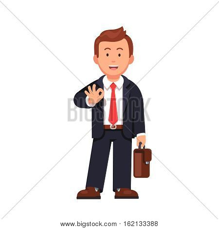 Standing business man with a briefcase showing OK gesture with his right hand. It'll be okay says confident businessman. Flat style vector illustration isolated on white background.