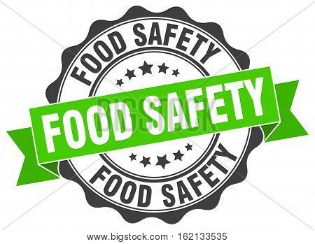 food safety. stamp. sign. seal. round. retro. ribbon