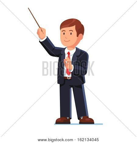Standing orchestra conductor directing classical music with his wooden stick. Flat style vector illustration isolated on white background.