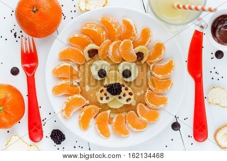 Lion pancakes - funny breakfast idea for kids food art composition