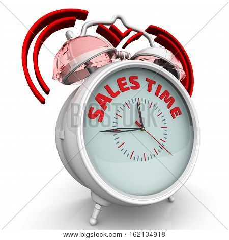 Sales time. The alarm clock with an inscription. Alarm clock with the words