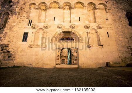Doorway lite up at night in Split Croatia