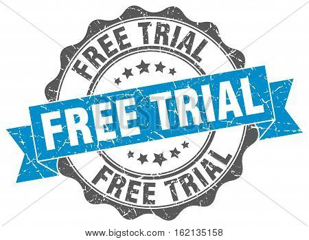 free trial. stamp. sign. seal. round. retro. ribbon