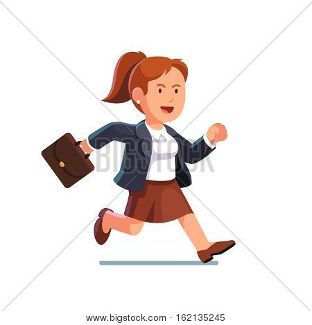Determined business woman with a briefcase running fast to the right side. Businesswoman trying to catch on time. Flat style vector illustration isolated on white background.