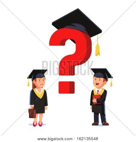 Graduated MBA business school students. Woman and man wearing mortar board hats and gowns. Educated businessman thinking and questioning themselves about future. Flat style vector illustration.