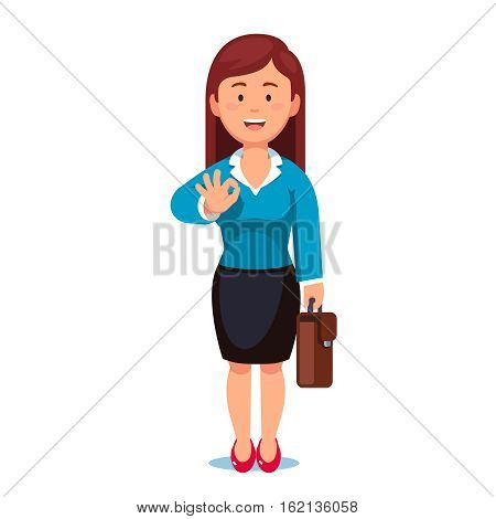 Standing business woman with a briefcase showing OK gesture with his right hand. It'll be okay says confident businesswoman. Flat style vector illustration isolated on white background.