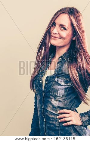 Young Lady Is Wearing Denim Shirt.