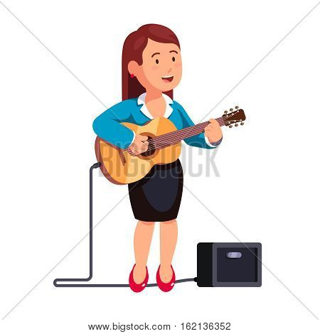 Business woman in formal dress playing guitar music and singing a song, standing one leg on combo guitar amplifier. White background isolated flat style vector illustration.