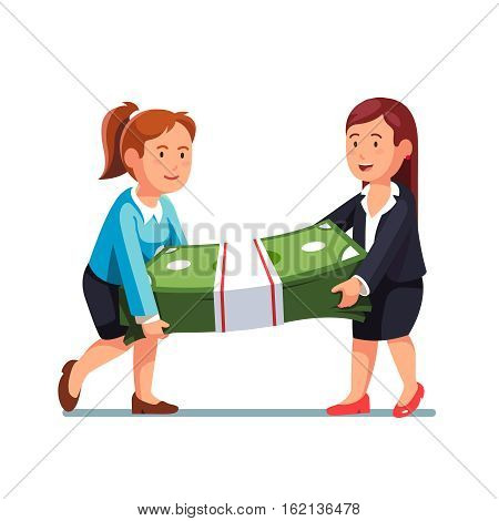 Two business woman carrying huge and heavy money bundle. Businesswoman walking with dollar banknotes cash pack. Flat style vector illustration isolated on white background.
