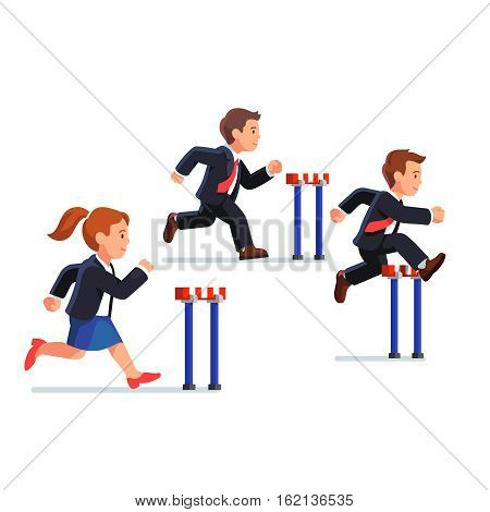 Business man and woman competing in a steeplechase race following the leader jumping over obstacle. Determined businessman. Flat style vector illustration.