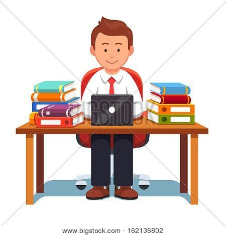 Business man working and learning sitting on an chair at desk with stacks of books and document binders. Studying hard and writing report. Flat style vector illustration isolated on a white background
