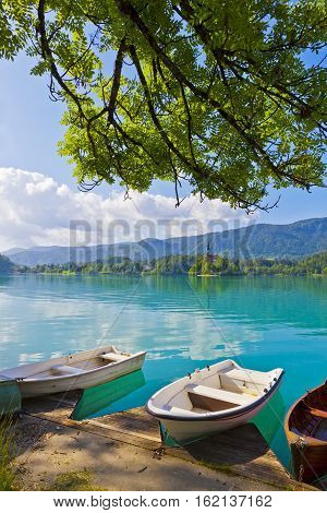 Landscape With Boats At The Pier Of Bled Lake, Slovenia
