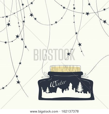 Cover design. Glass jar with lid and landscape inside the jar and the word winter. At the top of the postcard garland with stars.