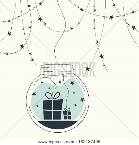 The cover design. Glass globe with stars and gifts inside. At the top of the card garland with stars.