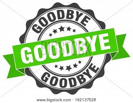 goodbye. stamp. sign. seal. round. retro. ribbon