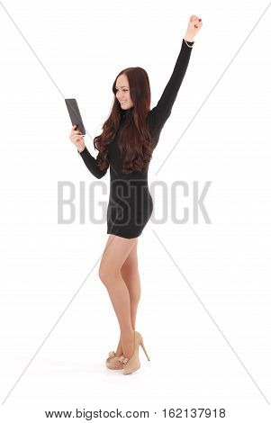 Girl looking at tablet pc isolated on white