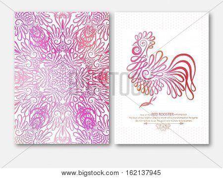 Happy New Year design with wishes. Rooster, symbol 2017 in Chinese calendar. Mandala with red cock. Vector illustration 2017 year, Red Rooster.