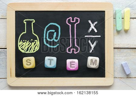 STEM concept. Some education symbols related to science, technology, engineering and maths subjects at school.