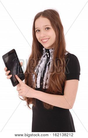 Smiling student teenage girl showing a tablet display application isolated on white.
