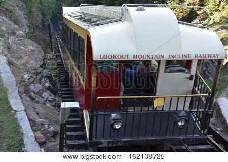 CHATTANOOGA, TN - OCT 4: The Lookout Mountain Incline Railway in Chattanooga, Tennessee, as seen on Oct 4, 2016. It is billed as one of the worlds steepest passenger railways.