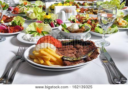 Fine meat is tasty dinner, Turkish doner kebap