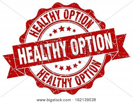 healthy option. stamp. sign. seal. round. retro. ribbon