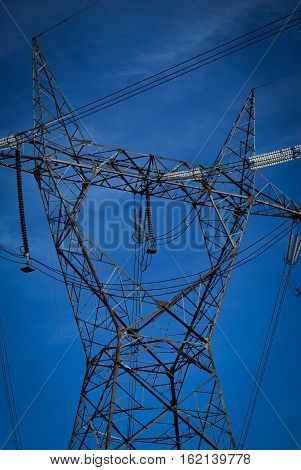 High voltage electricity cables datail over a clean blue sky poster