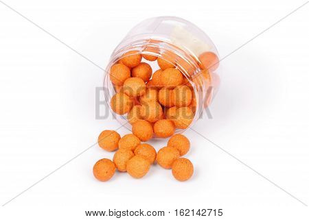 Close up view of fishing baits for carp. Accessories for carp fishing isolated on white background. Photo with clipping path