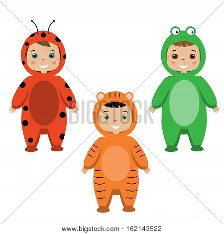 Kids party outfit. Cute smiling happy children in animal carnival costumes vector illustration. Isolated children in ladybug tiger and frog clothes
