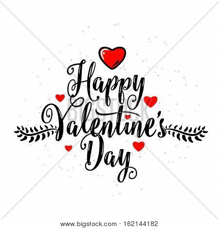 Vector illustration of happy valentines day lettering greeting template with text sign, red hearts, decorative branches with leaves isolated on white background in retro style