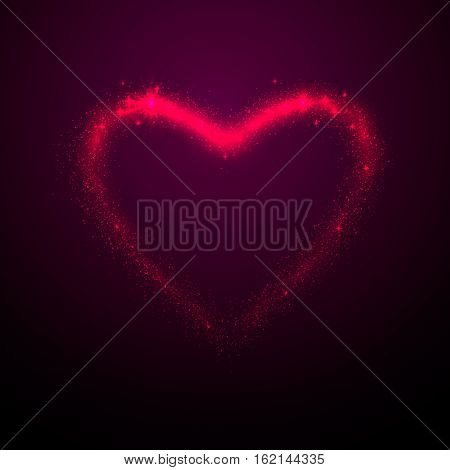 Vector illustration of shine glow pink heart silhouette with tails, like meteor, isolated on purple background